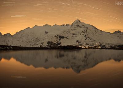 nightsky - stars - startrail - lake - alps - south tyrol