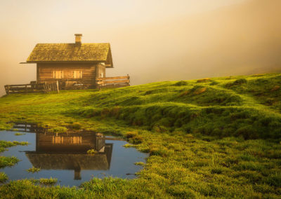hut, dolomites, sunrise