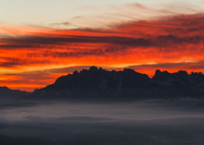 dolomiten - dolomites - berge - mountains - landscape - nature - sunrise - South tyrol - Sambock - burning sky