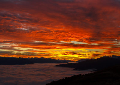 red, sunrise, pustertal, südtirol