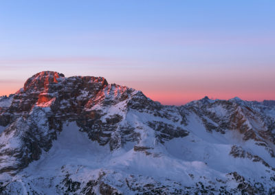 hohe geisl - mountains - dolomites - sunrise - snow - winter