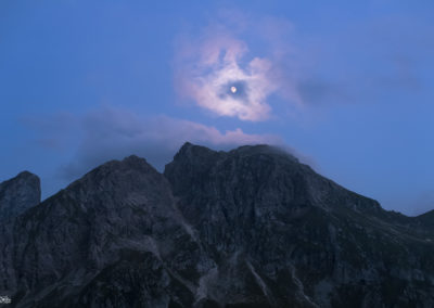 moon - on fire - dolomites - passp giao - mountains