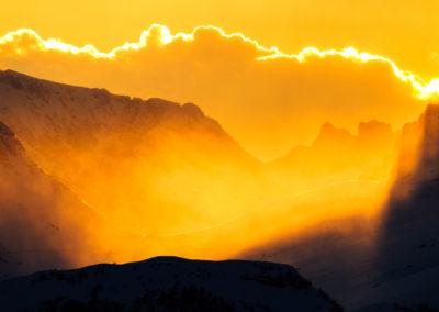 Snowstorm - Golden - Light - Sunset - Dolomites - Windy