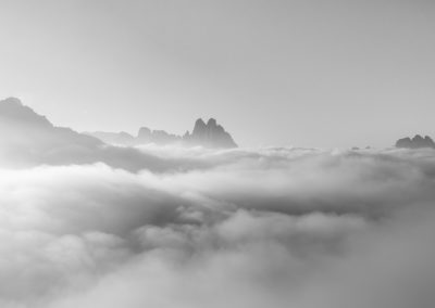 B&W - black and white - drei zinnen - fog - fogsea - dolomites - italy - mountains -