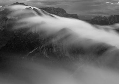fog - power - black and white - flow - mountains