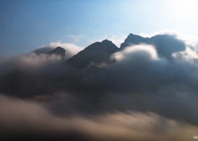 passo giao - moonlight - fog - magic - stars - moon - mountains - berge - nebel