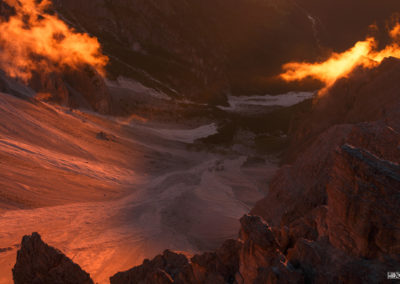 weisslahn - sexten - sunlight - mountain - red - dolomites