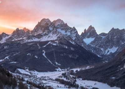 sexten - mountains - sunrise - winter - sunlight