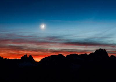 nightsky - stars - moon - dolomites - dolomiten - south tyrol - sexten