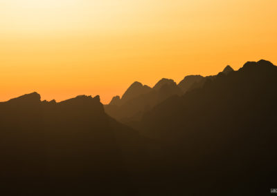 orange - light - dolomites - mountains