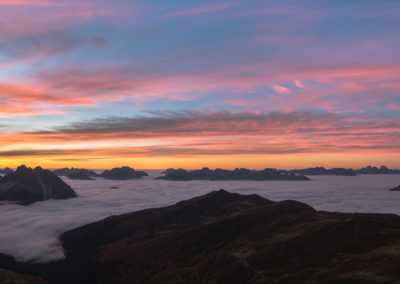 fog - sunrise - red - clouds - dolomites - mountains - magic - dreamy - morning